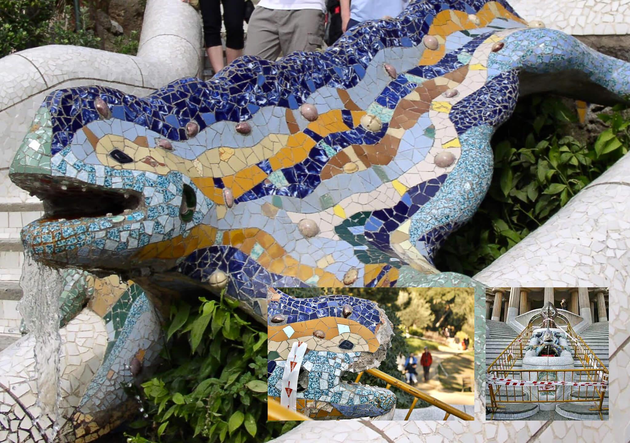 El dragón del Parque Güell y la piedra de 500 kg