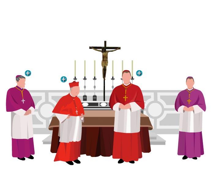 Ilustración del interior de la Capilla Sixtina, en el momento de la aceptación del nuevo papa del cargo que le ha sido encomendado. En ese momento, el decano le pregunta si acepta el cometido y a continuación le pide el nombre con el que quiere ser llamada a partir de ese momento. Son testigos de ese momento tanto el secretario del Colegio de Cardenales como el Maestro de Ceremonias Pontificias, que durante la votación han aguardado fuera pero que son llamados para presenciar este momento y dar fe de lo que se acuerda.
