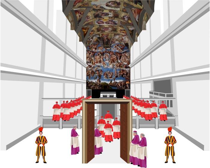 Ilustración de la entrada de los cardenales electores a la Capilla Sixtina, que acoge la elección de un nuevo papa tras la renuncia de Benedicto XVI. La Guardia Suiza custodiará la entrada de la Capilla, en cuyos techos está la obra de Miguel Ángel y a la que solo tienen acceso durante la votación los 115 cardenales electores.