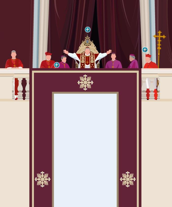 Ilustración del balcón de la Basílica de San Pedro desde el que el Protodiácono, o cardenal diácono más mayor, pronuncia el famoso: HABEMUS PAPAM antes de anunciar al mundo el nombre del nuevo papa. En ese instante cuando el sumo pontífice recién elegido bendice por primera vez a su pueblo en la llamada Urbi et Orbi.