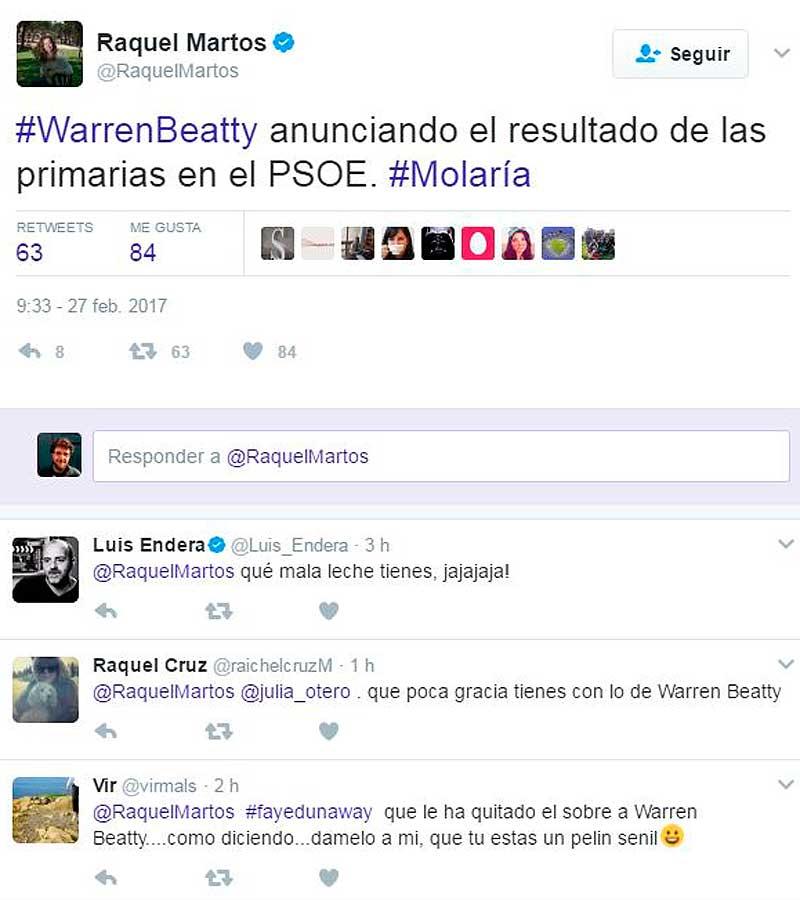 Tuit de Raquel Martos