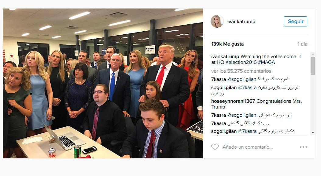 La familia Trump siguió al completo el recuento