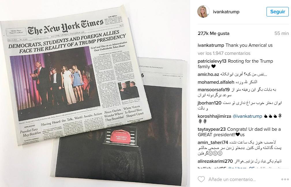 Ivanka Trump, agradecida con América