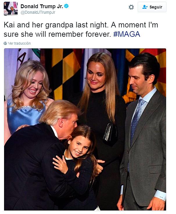 La nieta de Donald Trump abraza al nuevo presidente de los Estados Unidos
