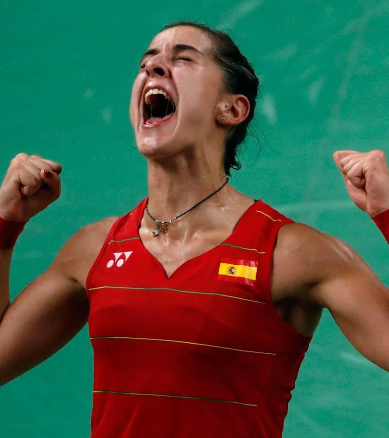 Carolina Marín, gritando en la final de bádminton de Río 2016
